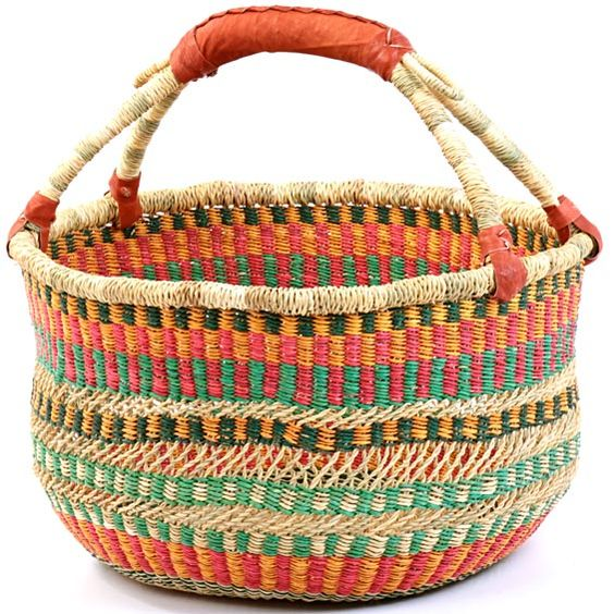 Basket Weaving Ghana : A ghana bolga basket is so colorful and would have the