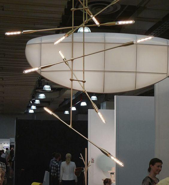 Lampe suspension design original en nickel en laiton SORENTHIA