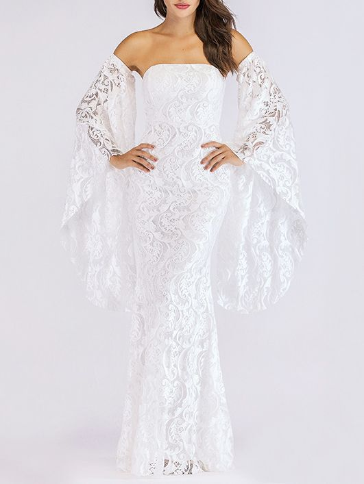 Off Shoulder Backless Lace Evening Dress