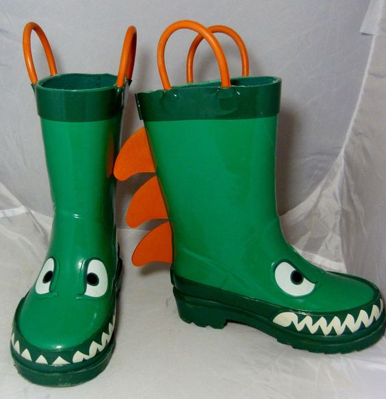 Target Kids Cherokee Green Dino Rain Boots Size Small 5 / 6 Rubber ...