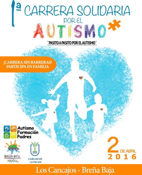 La I CarreraSolidaria en La Palma por el día mundial del Autismo se celebrará en los Cancajos en el municipio Breña Baja el día 2 de abril
