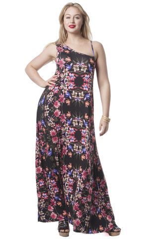 Asymmetrical Floral Maxi Dress
