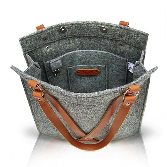 Grey Felt Bag With Leather Handle FOX BAG by MOOSEdesignBAGS on - dassbach küchen erfahrungen