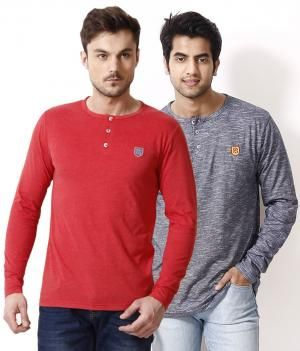 Free Spirit Pack of 2 Black-Gray Henley T Shirts (Now Rs 599 Only) | BestinOffers