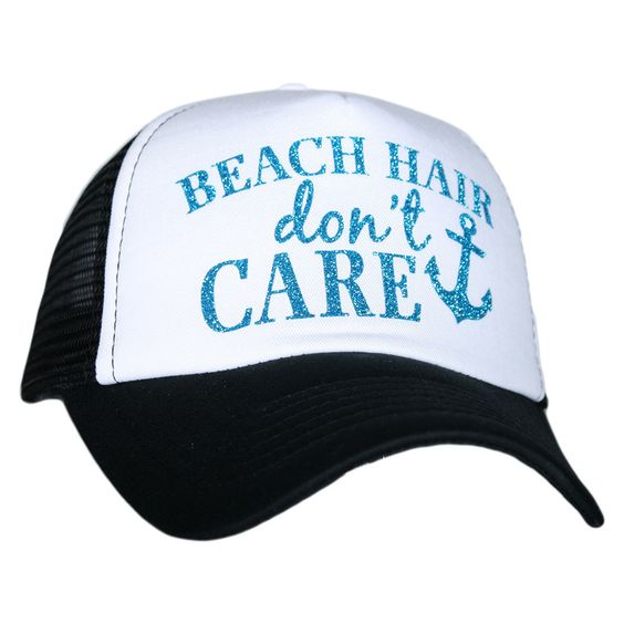 """Beach Hair Don't Care"" Glitter Trucker Hat"