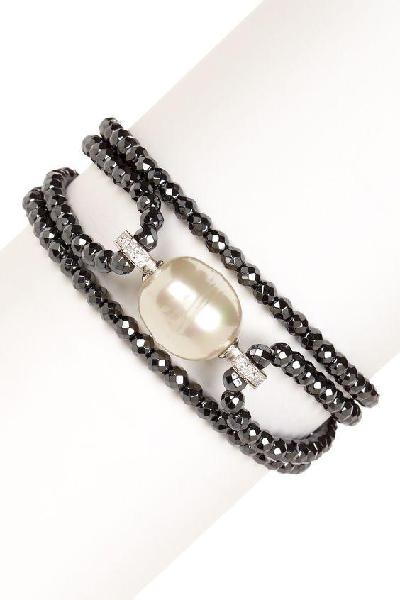 Hematite Beaded 16mm Baroque Pearl Bracelet                              …