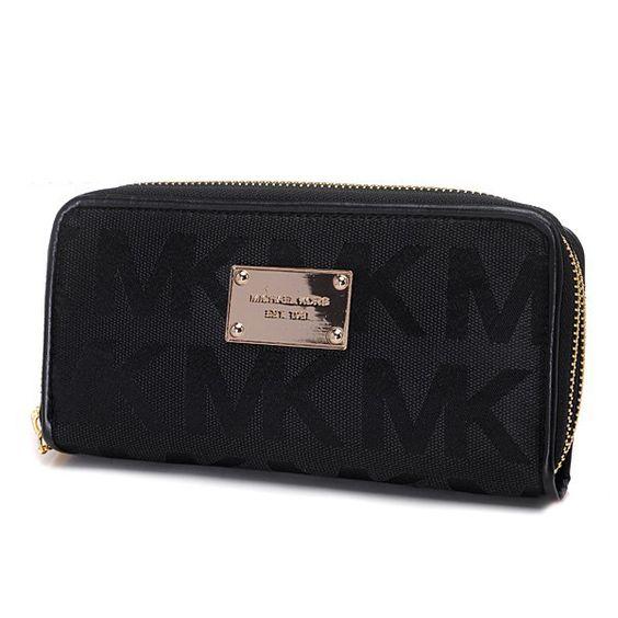 Michael Kors Jet Set Continental Logo Large Black Wallet