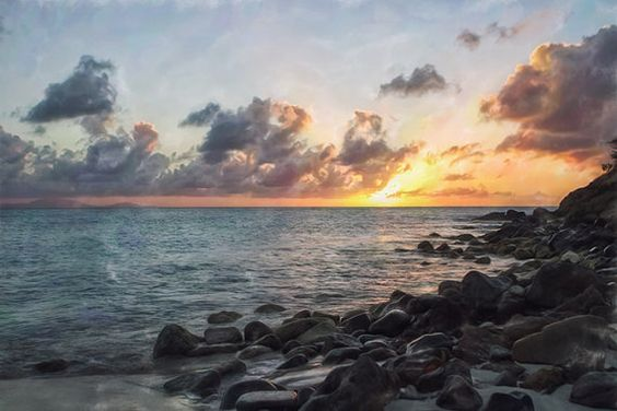 Peaceful serene sunset beach landscape tropical by ...