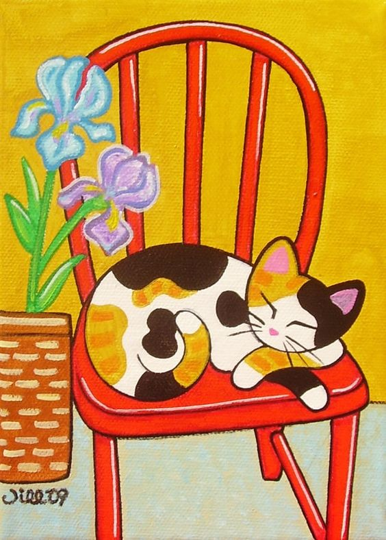 CALICO CAT on Red Chair Folk Art PRINT from Original by thatsmycat, $8.00