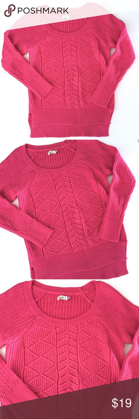 Pink Sweater with fun designs Pink Sweater with fun designs // sz XL // SO brand // 90% acrylic, 8% polyester, 2% other fiber // slightly longer in back // metallic shimmer thread throughout // Full length sleeves // scoop neck // non-smoking home // measurements available upon request // not my size. Can't model. // Offers Welcome! // 20% off 3+ Bundles // 10.29.19 SO  Sweaters Crew & Scoop Necks