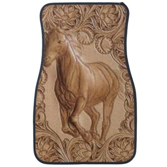 Western Tooled Leather Vintage Horse Car Floor Mat Zazzle Com Vintage Horse Leather Tooling Car Floor Mats