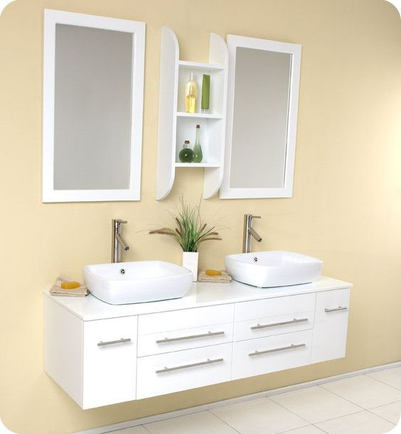 "Fresca FVN6119 Bellezza 58-5/8"" Wall Mounted Vanity Set with Solid Oak Wood Cabi"