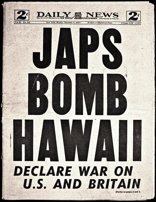 New York Daily News, Japan Bombs Pearl Harbor,  December 7, 1941