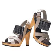 """Chic Woven Heel ~ Reg. $39.99 ~ Sale $29.99!    Leatherlike upper with fabric band. 4 1/2"""" H heel with 1"""" H platform in faux wood. Whole sizes only. Half sizes, order one size up.    Simply click the link to order yours today!   Shop Online & Save today!"""