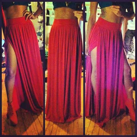 red maxi skirt, soft pleats, double slit, high-waisted, LOVE ...