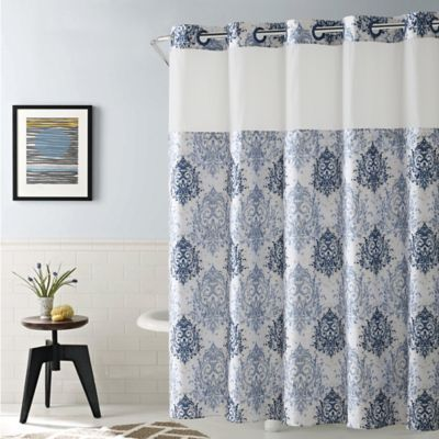 Hookless Ikat 54 Inch X 80 Inch Shower Curtain In Estate Blue
