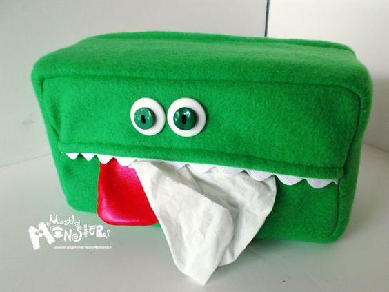 Kleenex Cozy Monster in Kelly Green OOAK by MostlyMonstersCV, $12.95