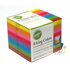 WILTON CAKE DECORATING SET 8 ICING GEL COLOURS COLOUR FOOD COLOURING