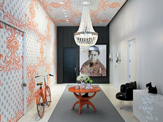 From Interior Design - amazing home Tribeca: Commercial Interiors, Cool Apartments, Home Interiors, Ceiling Design, Design Interiors, Entrance Halls, Graphics Firm, Precious Hallways, Accent Color