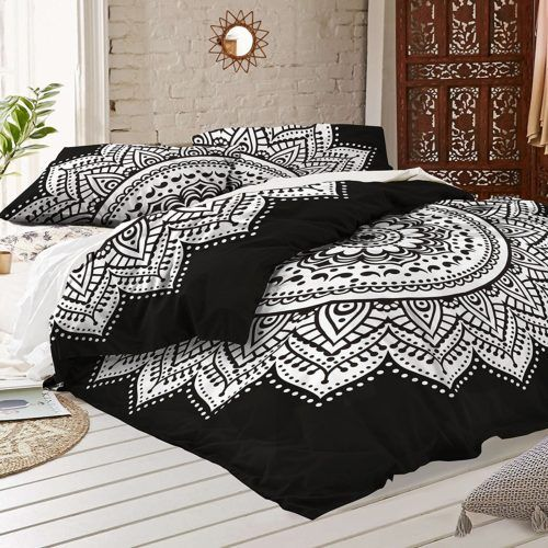 Black And White Duvet Covers Black And White Mandala Duvet Cover With Two Pillow Covers Bohemian Doona Set India Mandala Duvet Cover Bed Black Duvet Cover