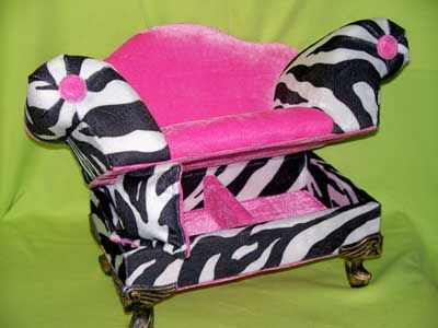 2 Cute for Dolls online store - Zebra and Pink Velvet Chair/Jewelry Box