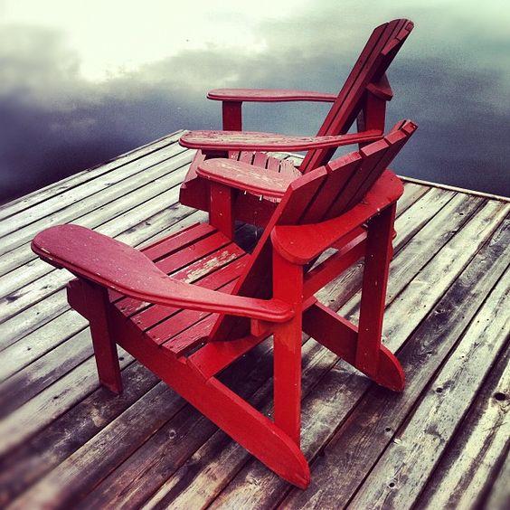 Muskoka Chairs On The Dock In Beautiful Muskoka Ontario