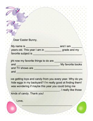 Printable letter to the easter bunny school pinterest for Letter to easter bunny template