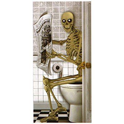 Horror Türposter Skelett auf Toilette ca. 152x76cm Halloween Türbild Poster