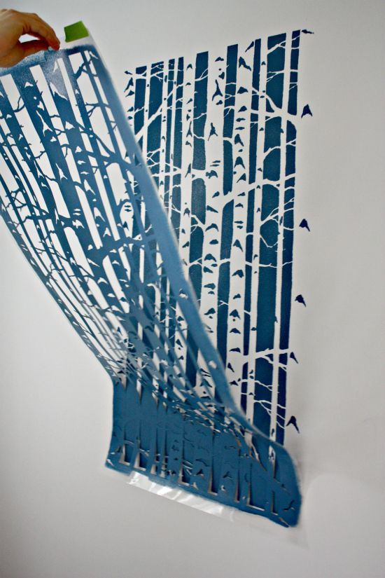 Stenciling! Easier than wallpaper in so many ways. Love this graphic tree print! I want it!!!