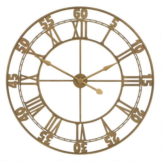 Fashionably On Time The Lucia Wall Clock Makes A Grand Statement Its Warm Brass Finish Open Design And Classic Roman Clock Wall Clock How To Make Wall Clock