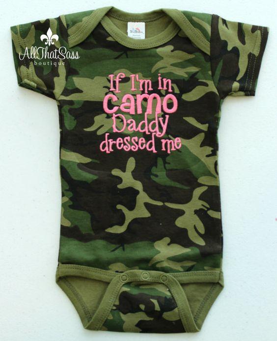 Redneck Baby Gift Ideas : Camoflauge baby bodysuit camo girls or boys daddy