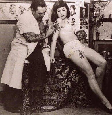 vintage tattoo black and white photograph