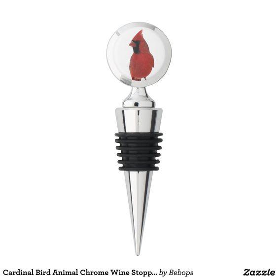 #Cardinal Bird Animal Chrome Wine Stopper @bebopsplace