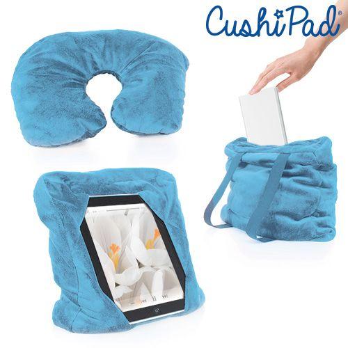 Cojín 3 en 1 CushiPad: soporte, reposa cabezas, cojín para el cuello, almohada, mochila, y mucho más.