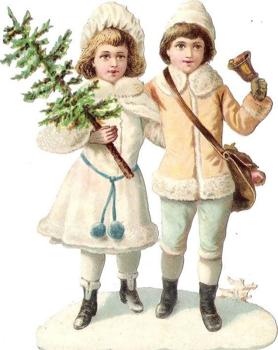 Oblaten Glanzbild scrap die cut  Kind 15cm child Winter XMAS Weihnachten Glocke: