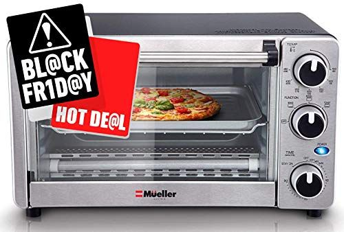 Toaster Oven 4 Slice Multi Function Stainless Steel With Timer Toast Bake Broil Settings Natural Convection 1100 Watts Of P Toaster Oven Toaster Oven
