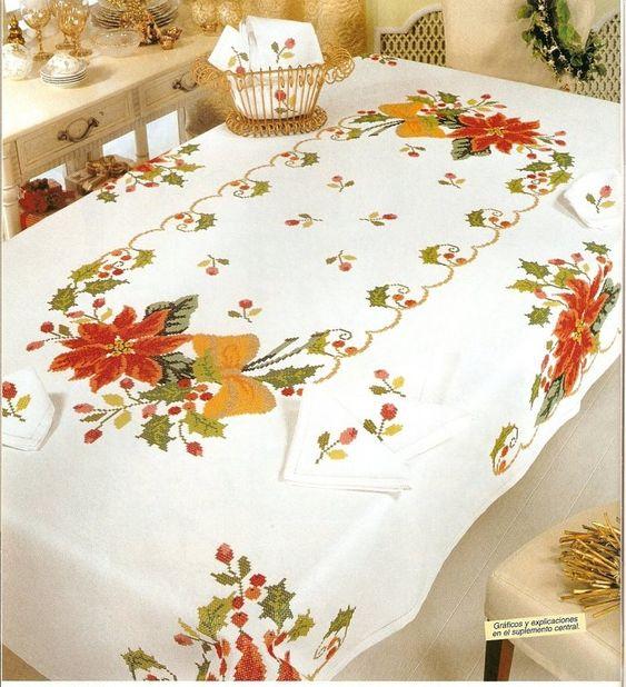 Manteles de navidad punto cruz navidad y diy y manualidades for Manteles de tela