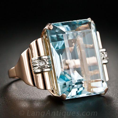 Retro Aquamarine Ring