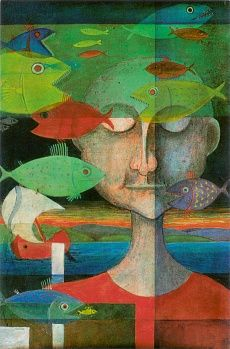 Der Traum des Fischers #Wallpaper #Tapeten #DesignTapeten #Kastlunger