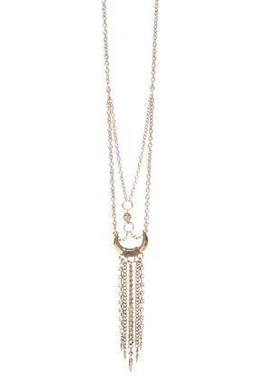 Cato Fashions Fringe Horn Pendant Webbed Necklace #CatoFashions