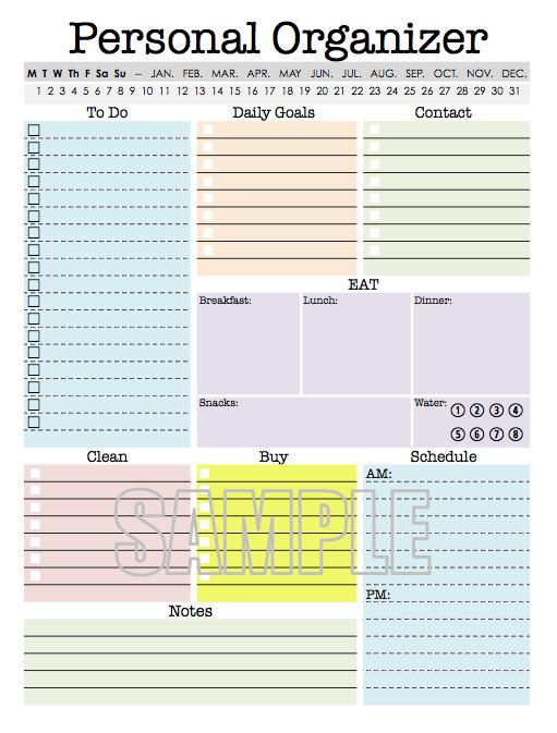 Personal Organizer - EDITABLE - Daily planner, weekly planner, to - sample weekly agenda