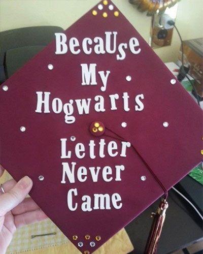 Harry Potter Graduation Cap Decoration Ideas bc my hogwarts letter never came: