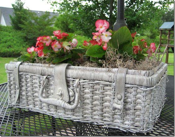 A Shabby Picnic Basket Planter!