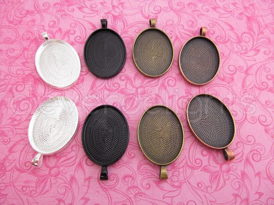 5 Pendant Trays 22x30mm - Vintage Style Oval Trays - Antique Bronze Copper Silver Black - Pendant Blanks Cameo Bezel Setting Mix 22 x 30 mm