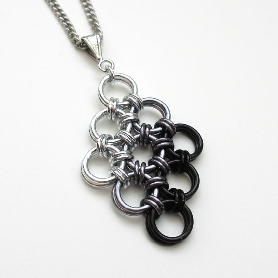 Black ombre Japanese diamond chainmaille pendant.