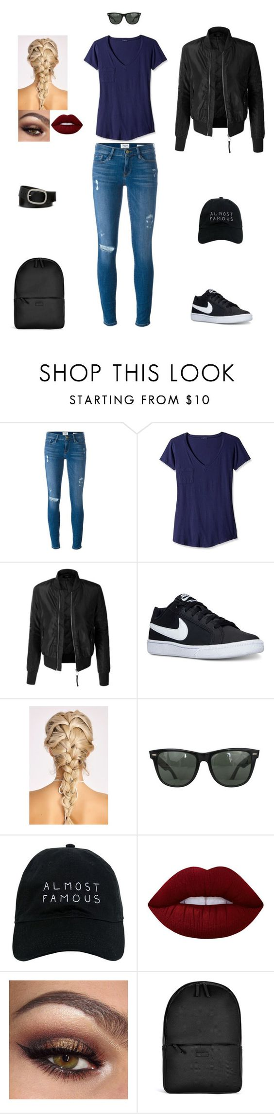 """Untitled #84"" by hannahchristine18 on Polyvore featuring Frame Denim, LAmade, LE3NO, NIKE, Ray-Ban, Nasaseasons, Lime Crime, Rains and Mixit"