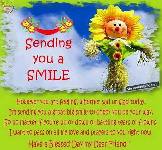 Good Morning Family And Friends Quotes : Sending you a smile morning good quotes