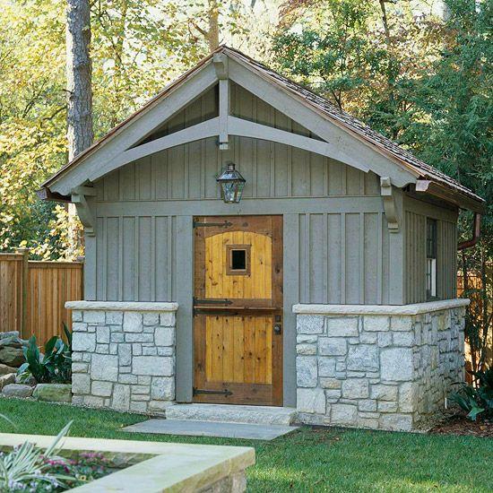 Garden sheds in the landscape gardens craftsman and for Garden shed door designs