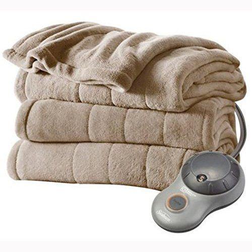 Sunbeam Channeled Microplush Heated Electric Blanket Full Mushroom Affiliate Blanket Heated Blanket Electric Blankets Plush Blanket