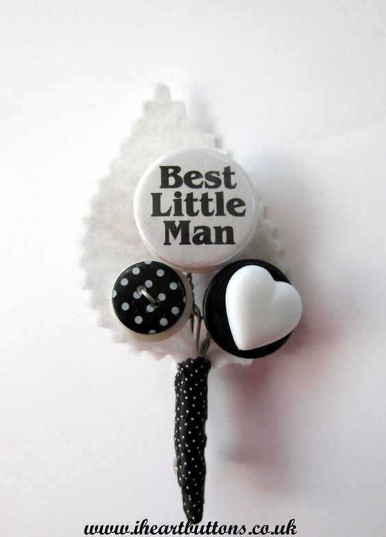 Best Little Man Button Buttonhole / Boutonnière for Pageboy Wedding Black White Polka Dot Heart Rockabilly